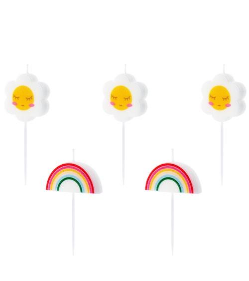 "Kuchenkerzen ""Daisies & Rainbow"" - 5-teilig"