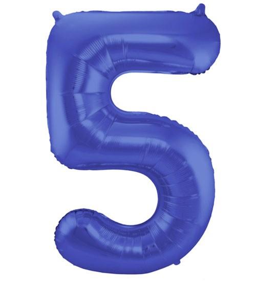 "Zahl-Folienballon ""5"" - matt blau - 86 cm"