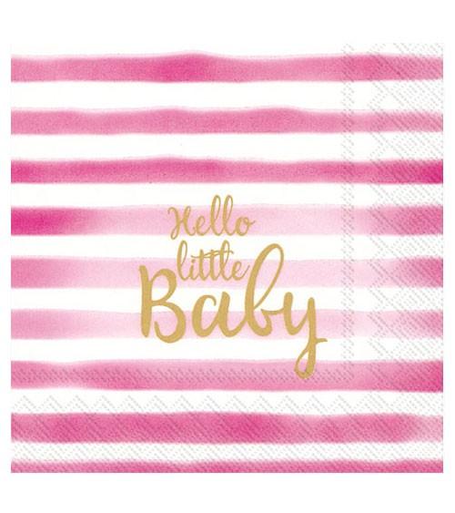 "Servietten ""Hello little Baby"" - rosa - 20 Stück"