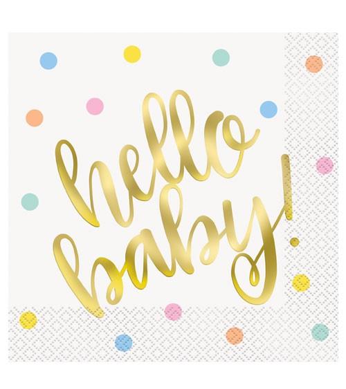 """Servietten """"Hello Baby - gold"""" - 16 Stück"""