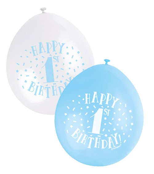 "Luftballon-Set ""Happy 1st Birthday"" - hellblau/weiß - 23 cm - 10 Stück"
