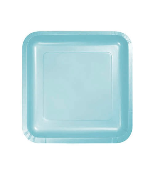 Kleine eckige Pappteller - pastellblau - 18 Stück