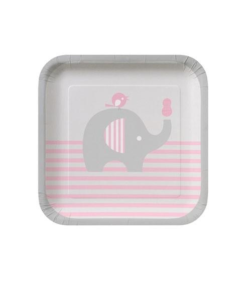 """Kleine Pappteller """"Kleiner Elefant - rosa"""" - 8 Stück"""