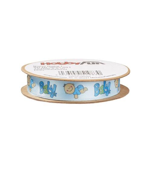 """Selbstklebendes Geschenkband """"Baby"""" - hellblau - 15 mm x 2 m"""