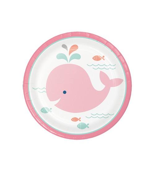 """Kleine Pappteller """"Baby Wal - Rosa"""" - 8 Stück"""