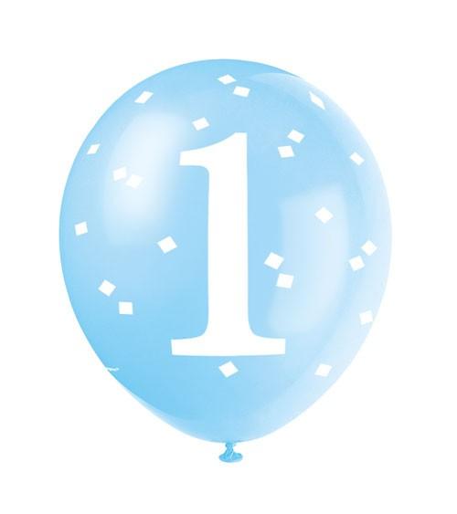 "Luftballons ""1. Geburtstag"" - blau - 5 Stück"