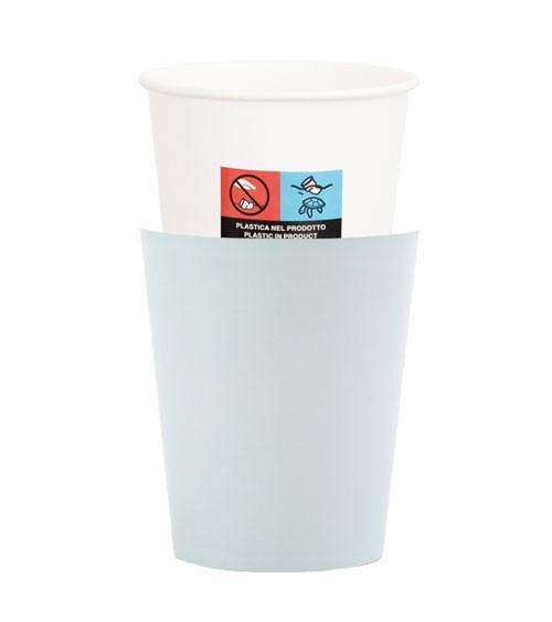 Pappbecher - light blue - 8 Stück