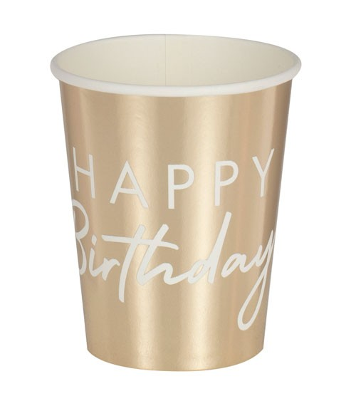 "Pappbecher ""Mix it up"" - Happy Birthday - metallic gold - 8 Stück"