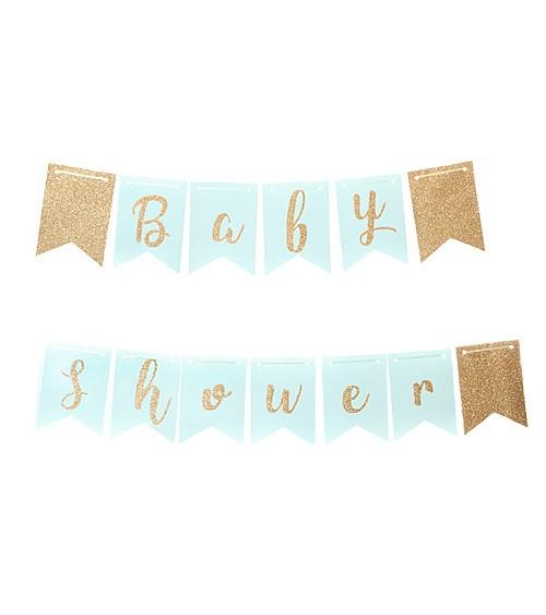 Baby Shower Girlande mit Glitzer - hellblau - 3,5 m
