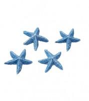 Seesterne aus Polyresin - blau - 2 cm - 4 Stück