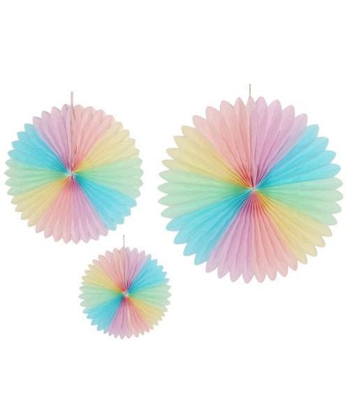 Deko-Fächer-Set - Pastel Rainbow - 3-teilig