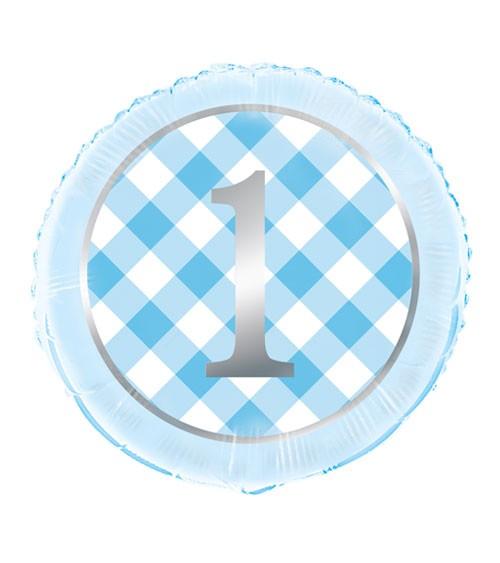 "Folienballon ""1. Geburtstag - Vichy Karo"" - blau - 46 cm"