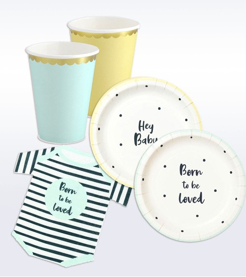 """Babyparty-Deko-Set """"Born to be loved"""" - 40-teilig"""