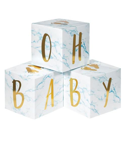"""Babywürfel aus Pappe """"Oh Baby"""" - marble hellblau - 3-teilig"""