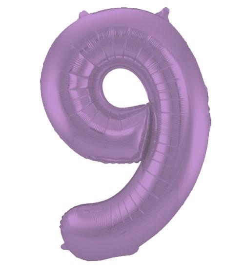 """Zahl-Folienballon """"9"""" - matt lila - 86 cm"""