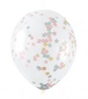 Transparente Ballons mit Sternkonfetti - pastell - 5 Stück
