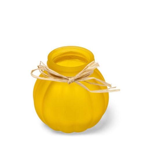 Glaskugelvase mit Bast - gelb - 8 cm