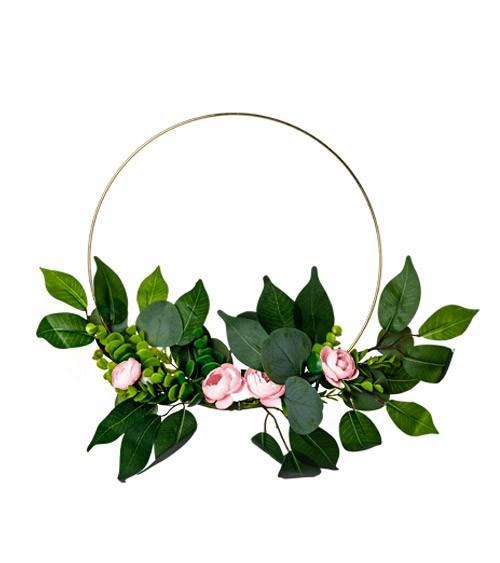 Floral Hoop mit Eukalyptus und rosa Rosen - 30 cm