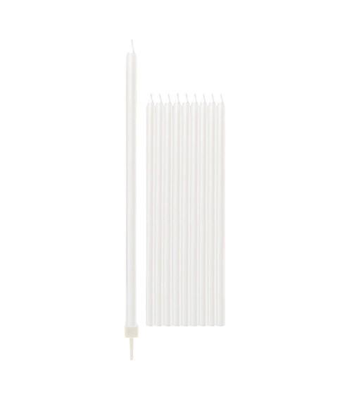Lange Kuchenkerzen - perlmutt weiß - 15,5 cm - 10 Stück
