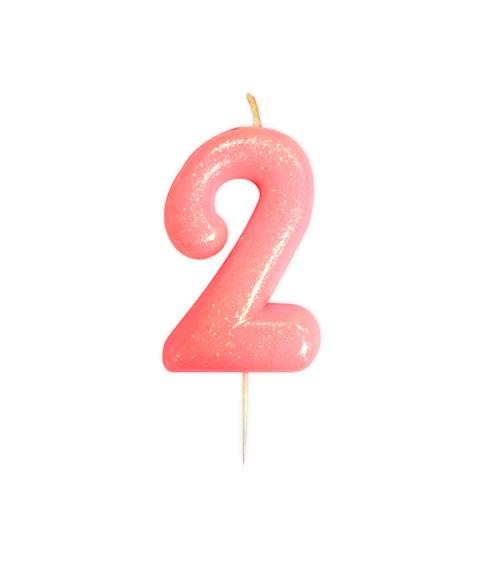 """Geburtstagskerze mit Glitter """"2"""" - rosa"""