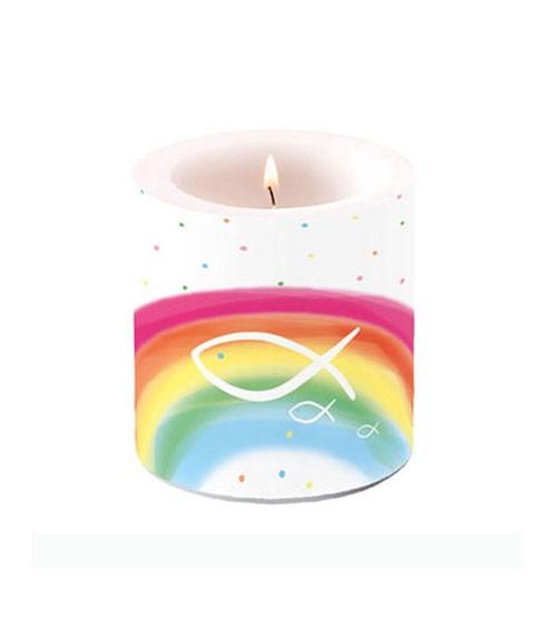 """Kerze """"Fische & Regenbogen"""" - bunt - 7,5 x 8 cm"""