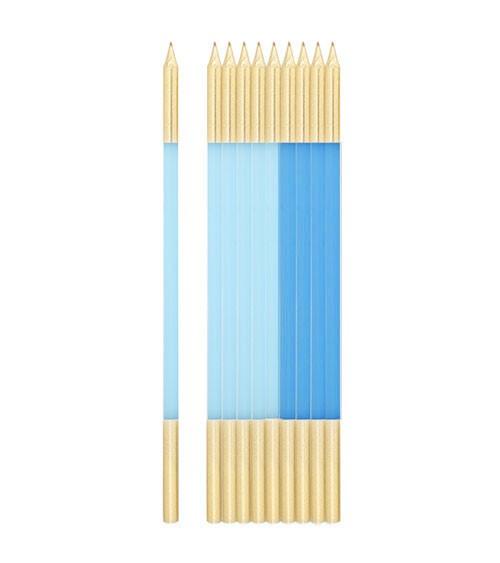 Lange Kuchenkerzen - gold & hellblau - 15,5 cm - 10 Stück