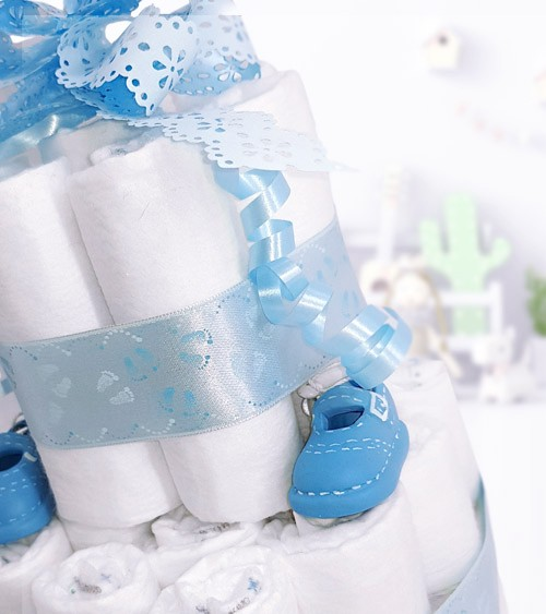 """Windeltorte """"Babyschühchen - blau"""""""