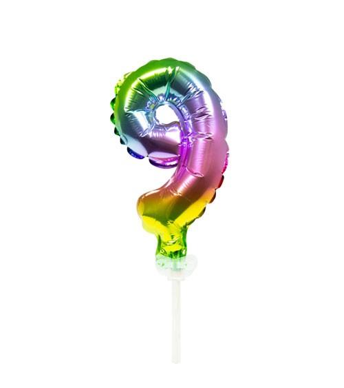 "Mini-Zahl-Folienballon ""9"" - rainbow - 13 cm"