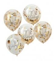 "Transparente Ballons mit goldenem Konfetti ""Oh Baby"" - 5 Stück"