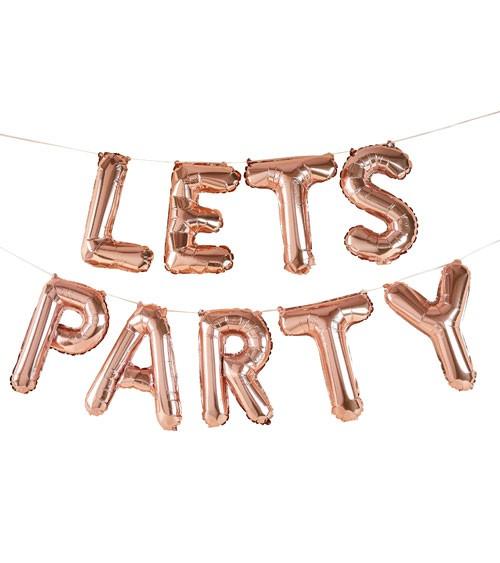 """Buchstabenballon-Set """"Lets Party"""" - rosegold"""