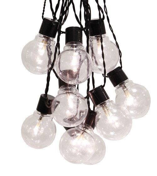 "LED-Party-Girlande ""Bulb"" - transparent/schwarz - 9,5 m"