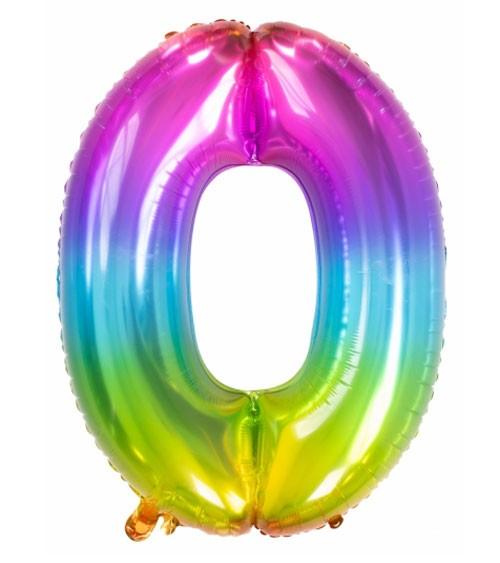 "Zahl-Folienballon ""0"" - Yummy Gummy Rainbow - 86 cm"