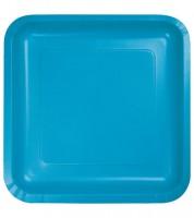 Eckige Pappteller - türkisblau - 18 Stück