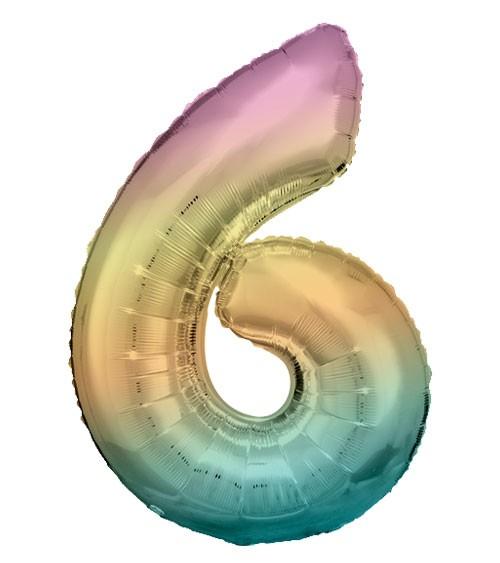 "Supershape-Folienballon ""6"" - Rainbow - 83 cm"