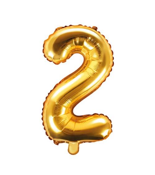 "Folienballon Zahl ""2"" - gold - 35 cm"