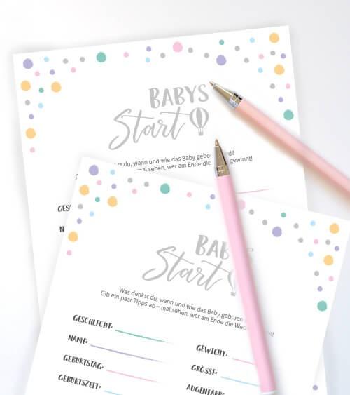 """Babyparty-Spiele-Karten """"Babys Start"""" - 10 Stück"""