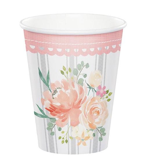 """Pappbecher """"Floral"""" - 8 Stück"""