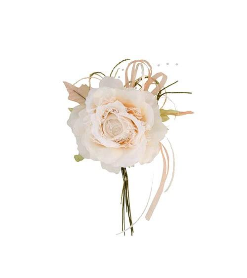 Stoffrose mit Spitze - elfenbein - 11 x 20 cm