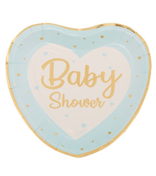 """Herz-Pappteller """"So Sweet"""" - Baby Shower - hellblau - 8 Stück"""