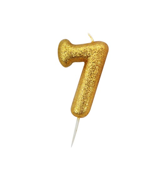 """Geburtstagskerze mit Glitter """"7"""" - gold"""