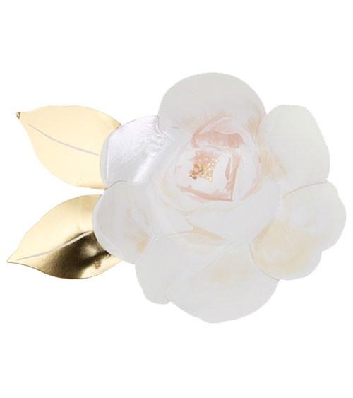 """Shape-Pappteller """"Weiße Rose"""" - 8 Stück"""