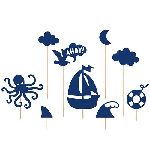 """Tortenstecker aus Papier """"Ahoy"""" 9-teilig"""