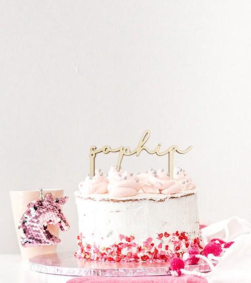 "Dein Cake-Topper ""Name Handlettering"" aus Holz - Wunschtext"