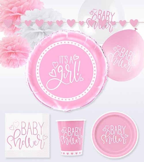 "Deko-Set ""Baby Shower"" - rosa - 47-teilig"