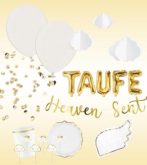 """Deko-Set """"Taufe"""" - weiß & gold - 53-teilig"""