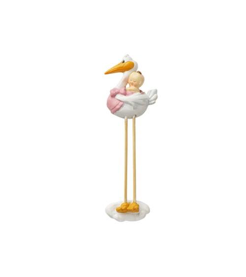 Storch mit Baby-Mädchen - 2D - 7,5 cm