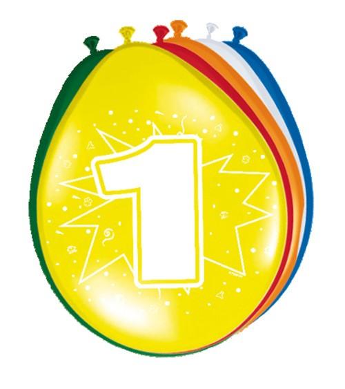 """Luftballon-Set """"1 Jahr"""" - bunt - 8 Stück"""