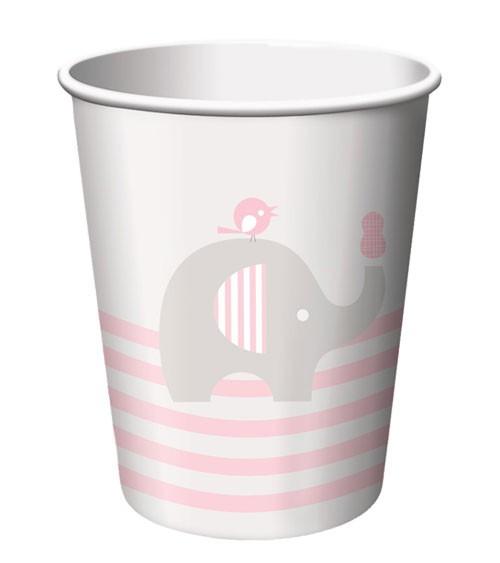 """Pappbecher """"Kleiner Elefant - rosa"""" - 8 Stück"""