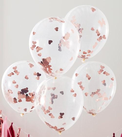 Transparente Ballons mit rosegoldenem Herz-Konfetti - 5 Stück