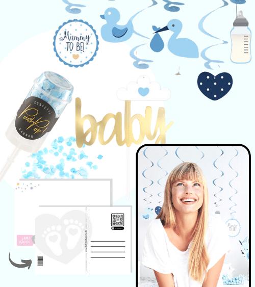 Virtuelle Babyparty Set mit Spiralgirlanden - hellblau - 9-teilig